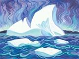 Doris McCarthy - Iceberg and the Aurora, 1997, oil... 13 years on our walls...time for someone else to enjoy