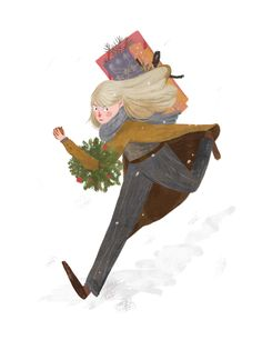 Christmas print Girl with gifts Running through the snow illustration