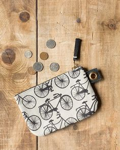 Bicicletta Small Zipper Pouch - A small zipper pouch made from sturdy cotton is perfect for storing small accessories, loose change and more. A metallic zipper keeps contents secure, while a grommet tab adds convenience. Small Zipper Pouch, Contents, Cotton, Metallic, Gifts, Bags, Change, Accessories, Handbags
