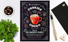 Cookies and cocoa invitation, Cocoa and cookies invitation, Christmas party invitations, Christmas invitations instant download by PrintablesForEvents on Etsy