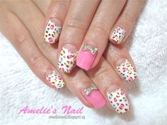 Hello Kitty Leopard Acrylic Nails Pastel leopard print