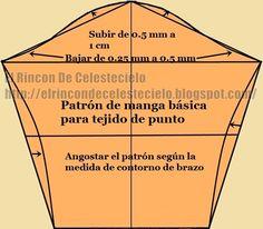 Patrón de manga básica para tejido de punto