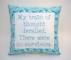Funny Cross Stitch Pillow Turquoise and Blue Pillow by NeedleNosey, $25.00