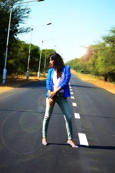 Stylishly Comfortable #fashion #style #corduroy #mint #blazer #blue #photography #white #zebraprint #photography