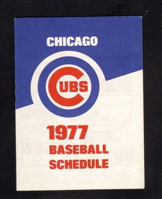 1977 Chicago Cubs Schedule--Old Style Beer #Pocket