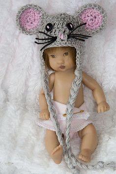 """Cheryl's Crochet Mouse Hat- Fits 5""""-6"""" Baby OOAK Ellery Kish"""