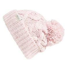 Rella 'Betto' Cable Knit Beanie (150.730 COP) ❤ liked on Polyvore featuring accessories, hats, pale pink, cable knit hat, pom beanie, acrylic beanie, pom pom beanie and pom pom hat