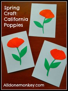 Spring Craft and Blog Hop: California Poppies from All Done Monkey