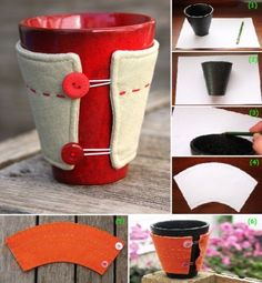 .You will need a mug, a piece of paper and a pencil. Take the mug and roll it on its side starting from right to left and as the mug rolls draw its path with a pencil on the paper.Now all you have to do is to cut out the shape you created from the paper. Take a piece of fabric, out of which you will make the cozy and pin the cut out shape to it. It will be much easier this way as you can cut out the shape from the material much faster. Start cutting Then sew the two parts together