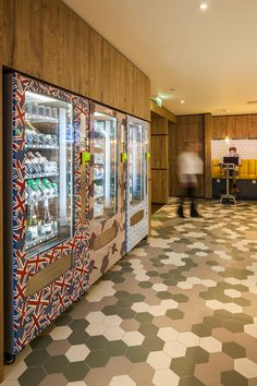 Original and modern hexagon floor tiles at Qbic hotel. tiles from Solus Ceramics.