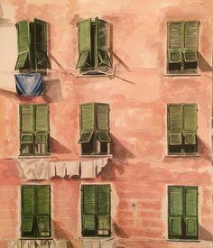 Casa rosa Acuarela sobre papel Anadelacerda.com