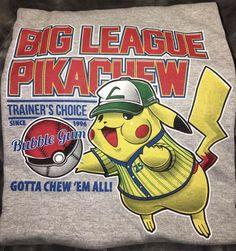 Geek Fuel Pokemon Big League Pikachew T-Shirt - Large  | eBay
