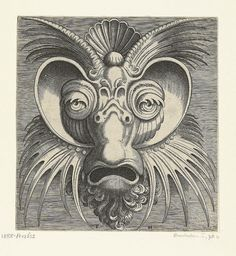 These most fabulous grotesque masks come from a suite of about twenty-two prints designed by Cornelis Floris, engraved by Frans Huys and published in Antwerp in 1555 by Hans Liefrinck.