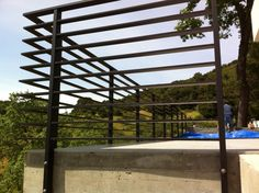 Horizontal Metal Deck Railing Unbelievable Aluminum Flat Bar Rail Home Interior … - All About Balcony Metal Deck Railing, Garden Railings, Patio Railing, Balcony Railing Design, Staircase Railings, Fence Design, Staircase Design, Railing Ideas, Black Railing