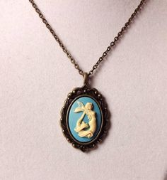 Beautiful Mermaid Cameo Necklace in Antiqued Brass by nikkisuniques on Etsy, $15.00