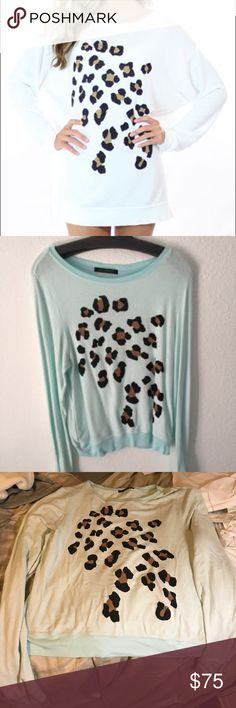 HUGE PRICE DROP Wildfox Leopard Print Sweatshirt Size large, great condition worn few times. same day ship Wildfox Tops Sweatshirts & Hoodies