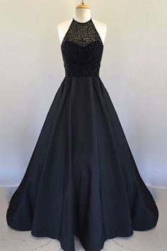 A Line Halter Floor Length Black Pleated Prom