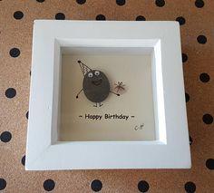 Beautiful Small Handmade Happy Birthday Pebble Art