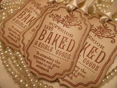 Superior Hand Baked & Edible Goods Novelty GIFT TAGS - Brown Vintage Style, Cream Ribbon