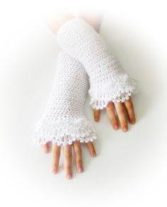 Fingerless Gloves  White Bridal Bride Elegant by Iovelycrochet, $27.00