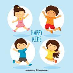 Happy Kids Illustration Free Vector
