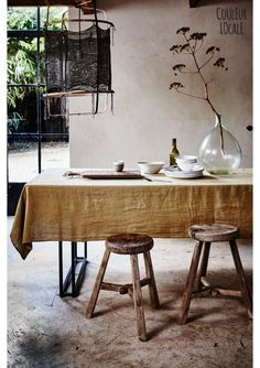 Tableware made from French stone washed linen | couleurlocale