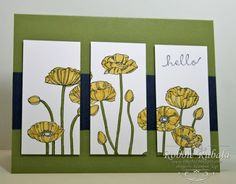 SU! Pleasant Poppies stamp; colors are Daffodil Delight, Night of Navy and Old Olive - Robbie Rubala