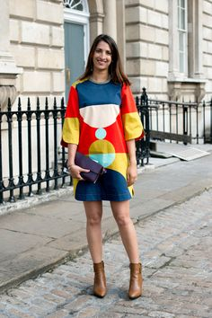 The best of street style at London Fashion Week Dress: Marimekko Shoes: Russell and Bromley Bag: Louis Vuitton Uk Street Style, Purple Pattern, Marimekko, Ss 15, Celebrity News, Glamour, London Fashion, Celebrities, My Style