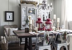 AKA Design Rustic Industrial Dining Room decorated for the holiday season