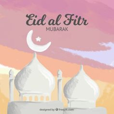 Hand painted eid al fitr background Free Vector