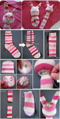 Brilliant DIY Sock Animals are not just cute and less expensive to create but also extremely fun. So, if you have some socks languishing in your wardrobe, Sewing Toys, Baby Sewing, Sewing Crafts, Sewing Projects, Free Sewing, Sock Crafts, Baby Crafts, Crochet For Kids, Sewing For Kids