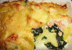 Svéd lazacos gratin Lasagna, Quiche, Mashed Potatoes, Sushi, Breakfast, Ethnic Recipes, Food, Gratin, Morning Coffee