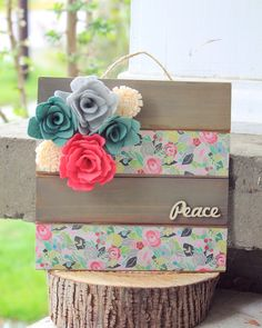 Handpainted wooden wall sign with felt flowers and succulents                                                                                                                                                      More