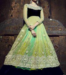 Buy Green Embroidered Chiffon Semistitched Lehenga Choli With Blouse lehenga-choli online