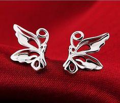 18k White Gold Filled Earrings Women Wings Ear Stud GF Costume Charm Jewelry New