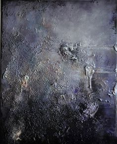 """Original Abstract Painting, Heavy Textured, Black Violet Neutral Greys 16""""x20"""" on Etsy, $200.00"""