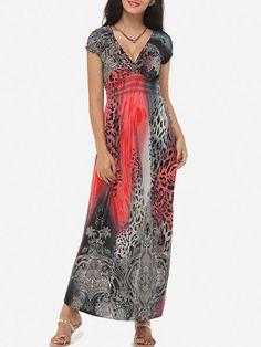 V Neck Dacron Bohemian Maxi Dress - fashionme.com