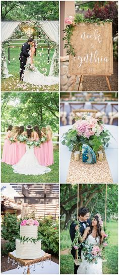 A blush and gold garden wedding set against the gorgeous backdrop of a magical pecan grove with flower wrapped swings, floral arbors, glitter and romance! http://www.confettidaydreams.com/garden-wedding-in-arizona/ Pics: @jessicaQwong