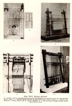 Vertical looms: 1.      11th century drawing showing vertical loom with two beams and the method of warping,  after M Hald; 2.      reconstruction of that loom made by the author; 3.      warp-weighted loom from the Faeroe Islands, 11th century, after O. Olavius; 4.      reconstruction of that loom made by the author p 73 Nahlik, Adam. Tkaniny Wsi Wschodnioeuropejskiej X-XIII W. Acta Archaologica Lodziensia, 13. Lodz, 1965.