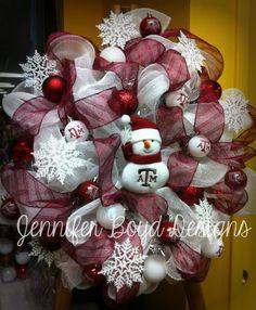 TAMU Aggies mesh wreath by Jennifer Boyd Designs.  Find me on Facebook, facebook.com/JenniferBoydDesigns