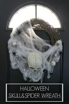Easy DIY Halloween skull and spider wreath