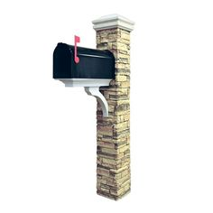 Eye Level Stacked Stone Beige Brace and Curved Cap Mailbox Post-50-KITBWC - The Home Depot