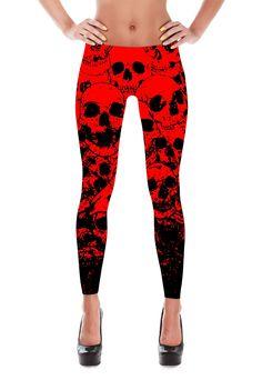 Skull Leggings - Red Skull Costume - Skull Costume - Halloween leggings - Day of the Dead - Patterned Leggings - Halloween Costume