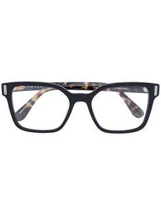 square frame striped arm glasses