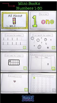 All About Numbers Mini Books. Includes numbers 1-30. Each book is 8 pages and includes I can statements. Practice writing each number, identifying each number, draw each number in picture, tens frame and base ten block form. CCSS Aligned. $