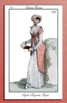 Scans & Photoshops of genuine Regency (Empire) and Georgian fashion plates I've collected, some comments. Some good photographs I've taken (most are bleah), a few fashion or historical plates from the Web. I have scanned these in at 300 dpi, but posted them to the Blog at 200dpi, for those who would like to download them. If someone would like the higher (300dpi) just email me, or mention it in comments.
