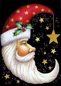 NEW-LARGE-TOLAND-CHRISTMAS-HOUSE-FLAG-SANTA-CLAUS-MOON-STARS-28-X-40