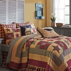 Hazelwood Quilt Set with Sham(s)- Bring a casual aesthetic to the room with these geometrically arranged patterns. The Hazelwood QuiltSet has large ni King Quilt Sets, Queen Quilt, King Quilts, Bed Quilts, Twin Quilt, Quilt Bedding, Quilt Pillow, Patch Quilt, Pillow Shams