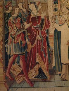 Scenes from the legend of St Etienne, choir hanging, Brussels, c 1500, wool and silk. Musée national du Moyen Age, Paris. Detail.