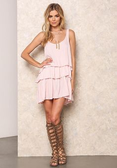 Pink Crepe Tiered Slip Dress - Dresses